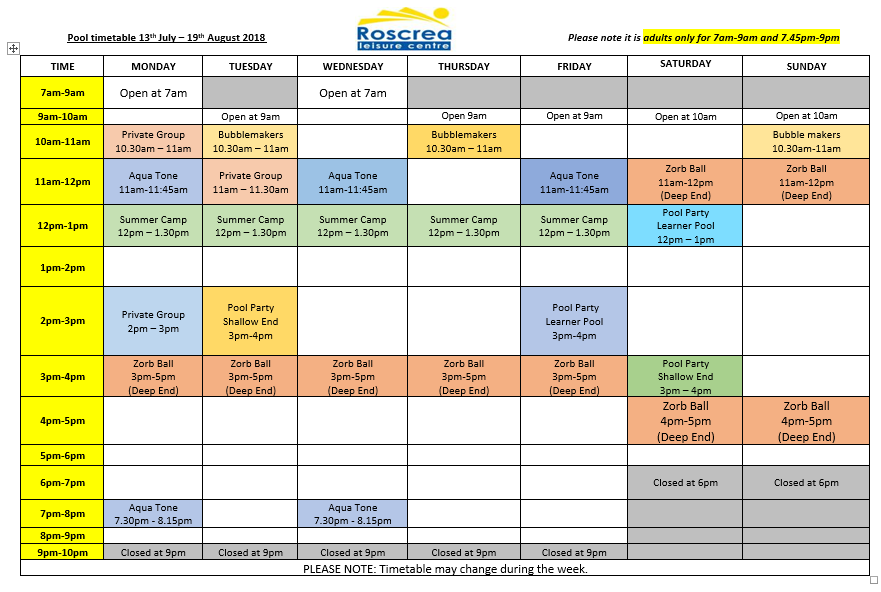 Pool Timetable 6th – 12th August & 13th – 19th August 2018