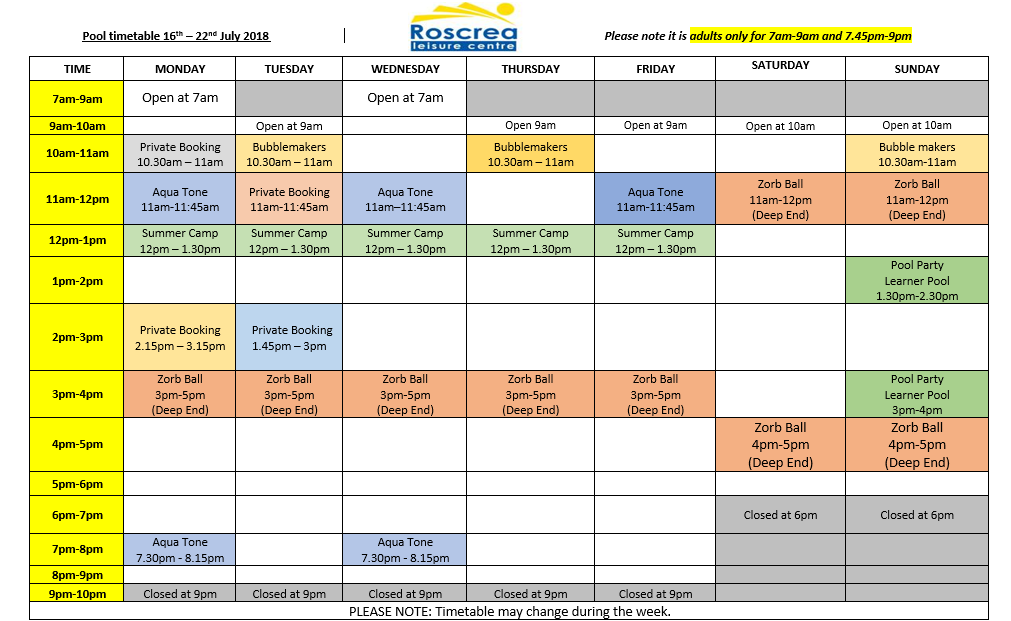 Pool Timetable 16th – 22nd July 2018 & 23rd – 29th July 2018