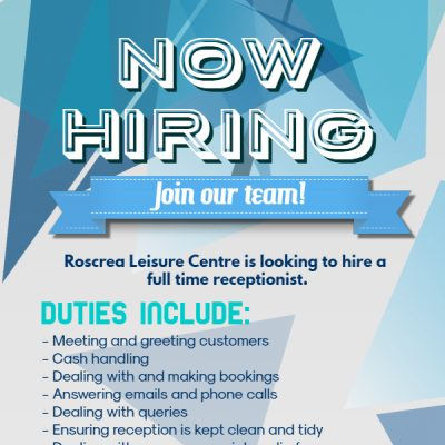 FULL TIME RECEPTIONIST REQUIRED