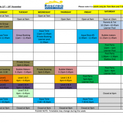 Pool Timetable 12th – 18th November