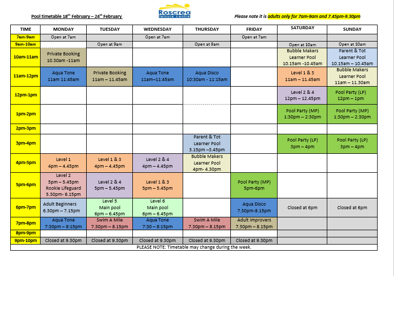 Pool Timetable 11th to 17th February & 18th to 24th February 2019