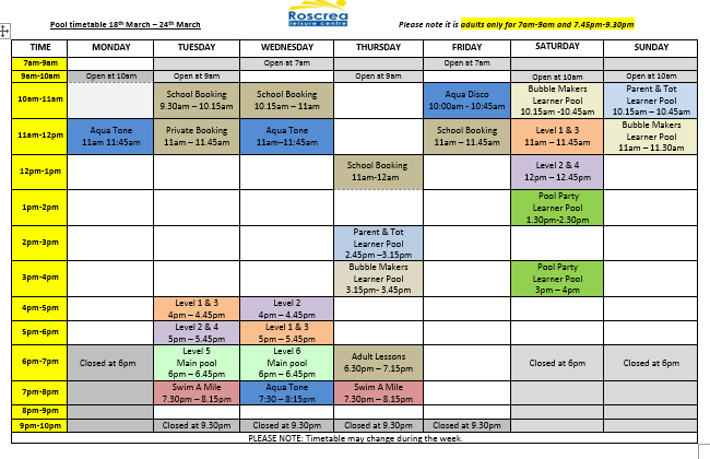 Pool Timetable 11th to 17th & 18th – 24th March