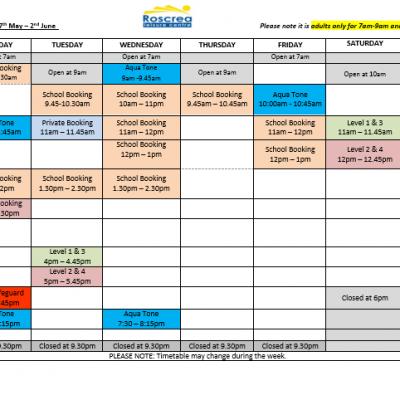 Pool Timetable 20th May – 26th May & 27th May – 2nd June 2019