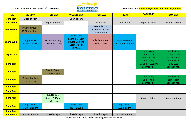 Pool Timetable 3rd – 9th December and 10th – 16th December