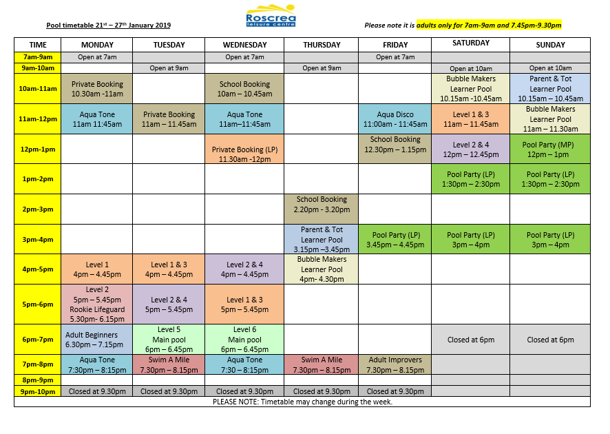 Pool Timetable 14th to 20th January & 21st to 27th January 2019