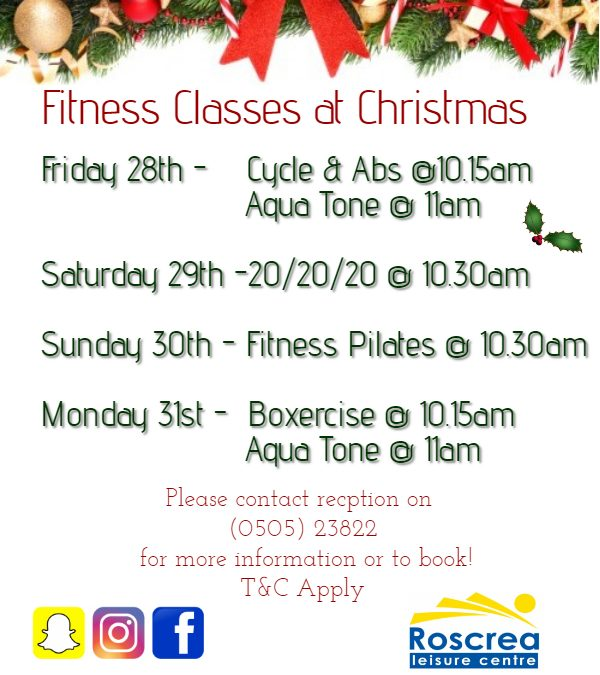 Fitness Classes at Christmas