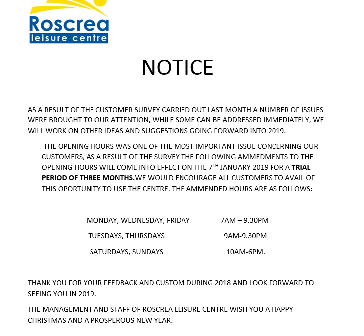 Notice – Please Note!