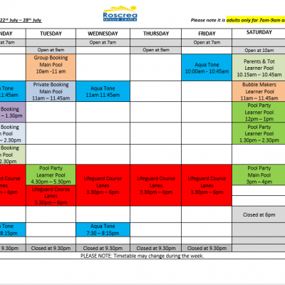 Pool Timetable 15th July – 21st July & 22nd – 28th July 2019
