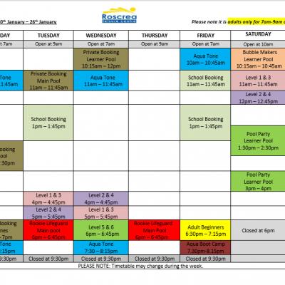 Pool Timetable 13th January – 19th January & 20th January – 26th January 2020