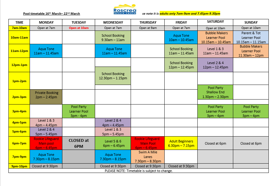 Pool Timetable 9th March -15th March & 16th March – 22nd March 2020
