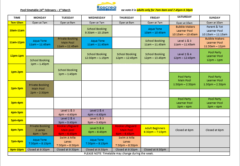 Pool Timetable 24th February -1st February & 2 ht March -9th March 2020