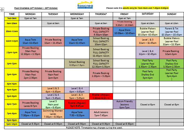 Pool Timetable  October 14th- 20th October 21th-27th 2019