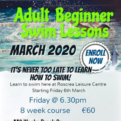 Adult Beginner Swim Lessons March 2020