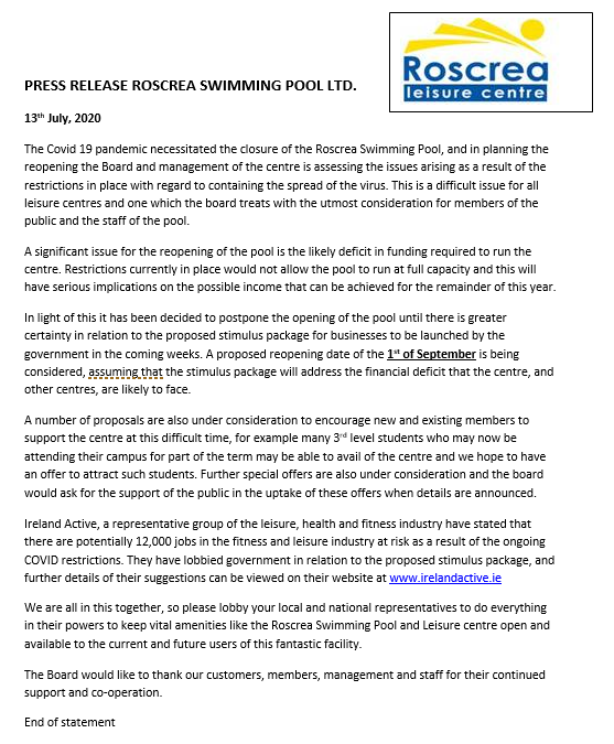 Press Release – 13th July 2020