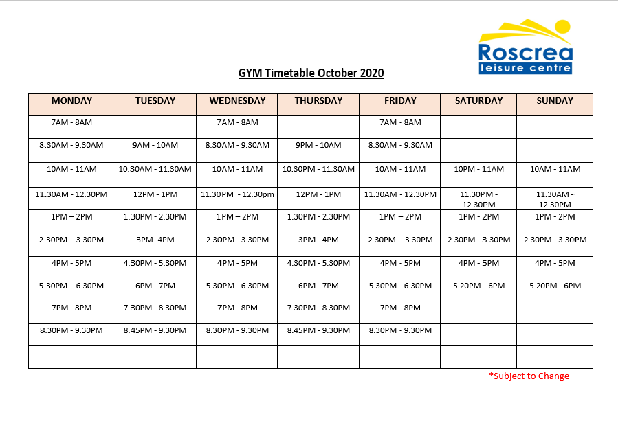 Gym Timetable October 2020