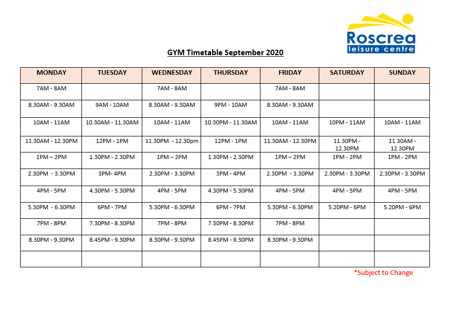 Gym Timetable September 2020