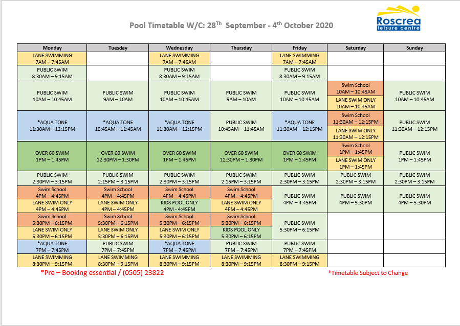 Pool Timetable 21st September – 27th September & 28th September – 4th October 2020