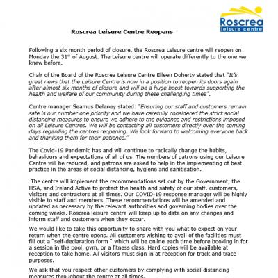 Roscrea Leisure Centre Reopens