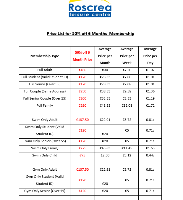 Price List for 50% off 6 Months Membership