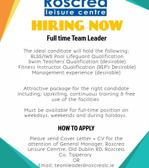 Now Hiring Team Leader Position