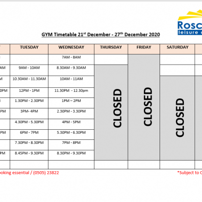 Gym Timetable21st – 27th December & 28th – 3rd January 2021