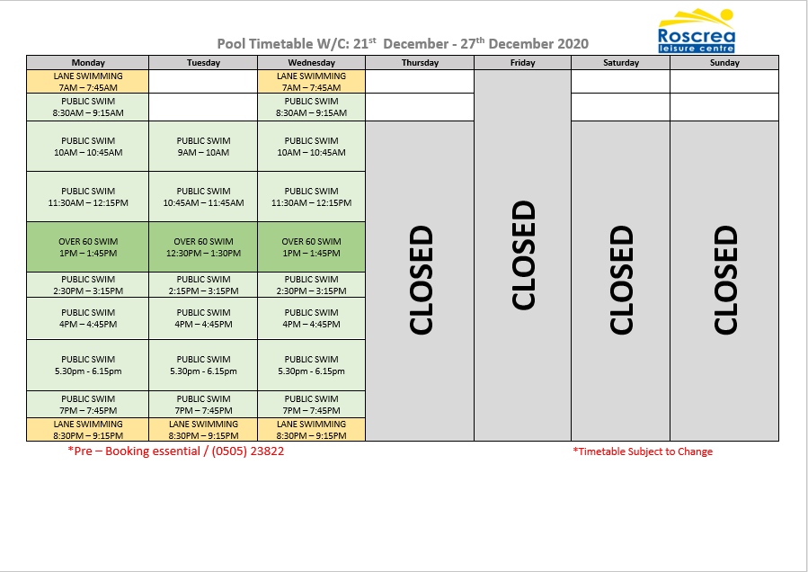 Pool Timetable 21st – 27th December & 28th – 3rd January 2021