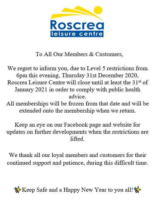 Closing Announcement January 2021