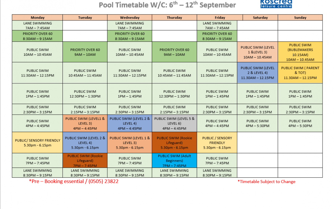 Pool Timetable 20th-26th September 2021