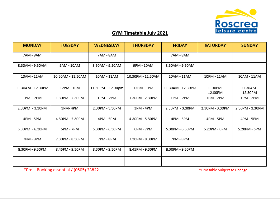 Gym Timetable June & July 2021