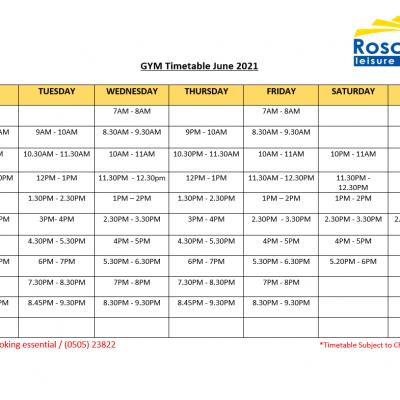 Gym Timetable June 2021
