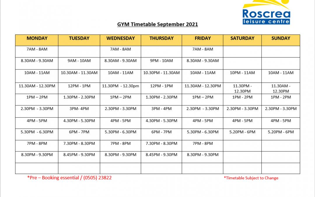 Gym Timetable September 2021