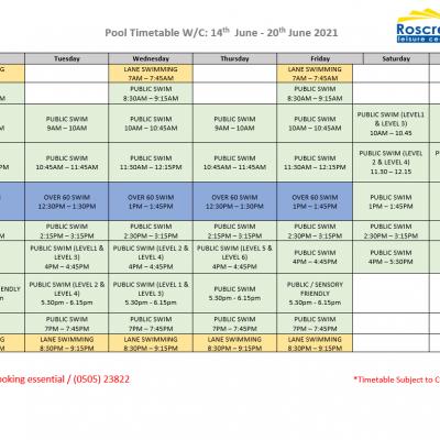 Pool Timetable 14th June – 20th June 2021