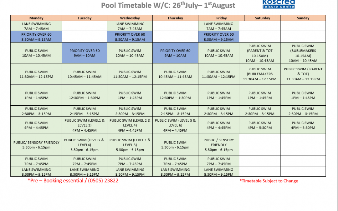 Pool Timetable 19th July – 25th July & 26th July – 1st August 2021
