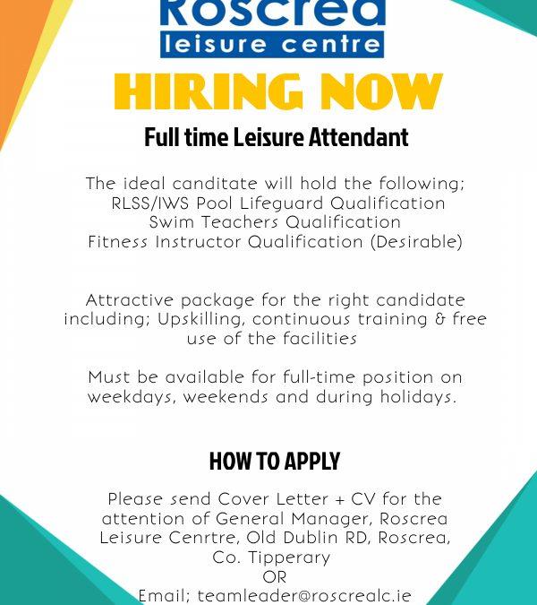 Full Time Leisure Attendant Position