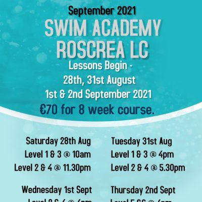 Swim School August/September 2021