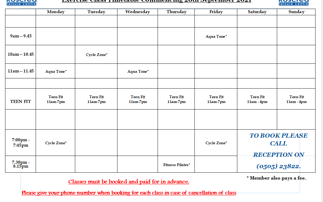 Class Timetable from 20th September